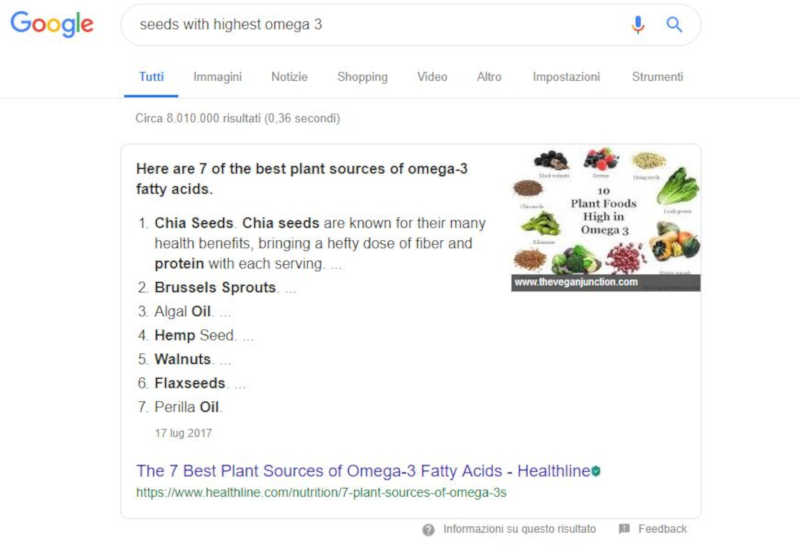 Featured snippet con link